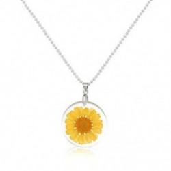 Sárga Női Boho átlátszó gyanta szárított virág százszorszép medál lánc nyaklánc ékszer