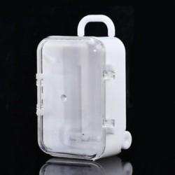 fehér Mini Rolling Travel Bőrönd Esküvői Candy Box Party kedvez a recepciónak Baby Toy