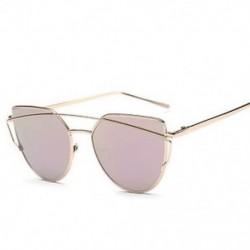 Arany rózsaszín Női lapos lencse tükrözött fém keret szemüveg túlméretezett macska szem napszemüveg Új