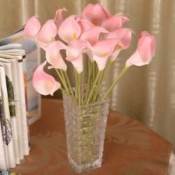 Rózsaszín Mesterséges calla liliom menyasszonyi esküvői csokor fej hamis selyem virág party dekoráció