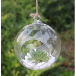 Kerek alakú 1 x átlátszó függő üvegbab labdák gyertya Tealight tartó fél esküvői dekoráció