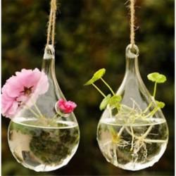 Csepp alakú 1 x átlátszó függő üvegbab labdák gyertya Tealight tartó fél esküvői dekoráció