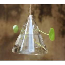 Háromszög alakú 1 x átlátszó függő üvegbab labdák gyertya Tealight tartó fél esküvői dekoráció
