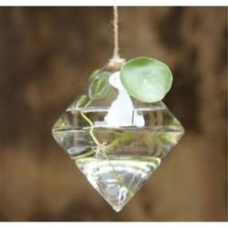 Gyémánt alakú Üveg lógó labda váza virág ültetvény pot terrárium konténer otthoni kert dekoráció