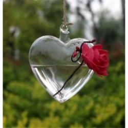 Szív alakú Üveg lógó labda váza virág ültetvény pot terrárium konténer otthoni kert dekoráció