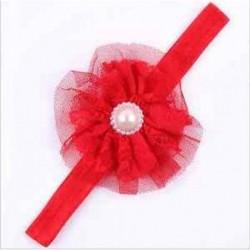 Piros Új aranyos csecsemő csecsemő lány kisgyermek gyöngy virág csipke fejpánt fejpánt haj zenekar