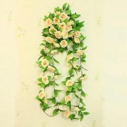 Pezsgő 1PC mesterséges borostyán szőlő selyem rózsa virág hamis függő garland esküvői lakberendezés