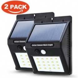 2 csomag Vízálló 20 LED napenergia Power PIR mozgásérzékelő fali fény Kültéri kerti lámpa
