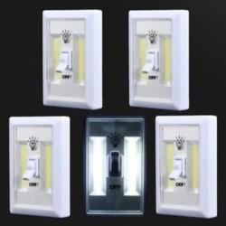 1 PACK 5 PACK COB LED fali kapcsoló Vezeték nélküli szekrény Akkumulátoros éjszakai fény akkumulátor működik