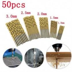 50Pcs titán bevonatú HSS nagysebességű acél fúrószerszám készlet 1 / 1,5 / 2 / 2,5 / 3mm JP