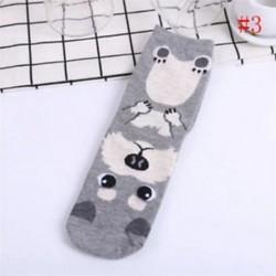 szürke Vintage Unisex 3D nyomtatott állat alkalmi zokni Női aranyos kutya boka magas zokni