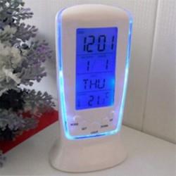 Új asztali ébresztőóra Digitális háttérvilágítás LED kijelző szundi hőmérő naptár
