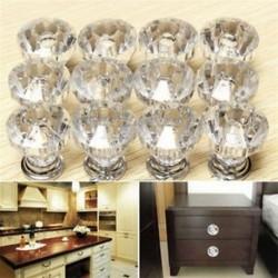 12Pcs / Állítsa be a Crystal Glass ajtó gombok fiókos szekrény bútorok konyhai fogantyúját