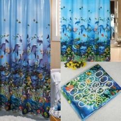 Vízálló óceán tengeri élet Fürdőszoba zuhanyfüggöny és 12 X-es kampó gyűrű 180 cm x 180 cm