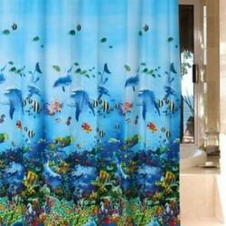 Ocean Sea Life vízálló fürdőszoba zuhanyfüggöny 12PC horog gyűrű 180cm x 180cm