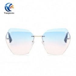 Arany keret   kék lencse Túlméretes keret nélküli napszemüveg Női Retro sokszög optika Fémkeret szemüvegek JP