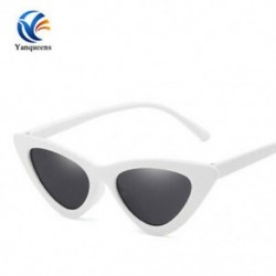 Fehér keret   szürke lencse Női retro macska szem napszemüveg klasszikus tervező Vintage divat árnyalatok szemüveg