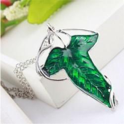 A gyűrűk retro ura zöld levél elf Pin bross medál lánc nyaklánc ajándék
