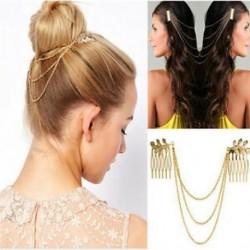 Női divat arany fém címer levél fésű mandzsetta lánc ékszer fejpánt haj zenekar