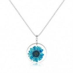 Kék Női divat átlátszó gyanta szárított virág Daisy medál nyaklánc Boho ékszerek