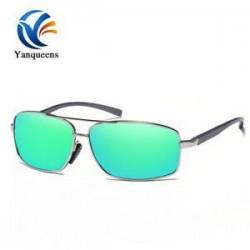 Ezüst keret   zöld lencse Unisex polarizált Retro UV400 tükör napszemüveg kültéri sport vezetési szemüveg jp