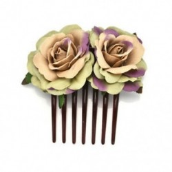 Sötétzöld Női lány dupla selyem rózsa virág haj fésű klip esküvői menyasszonyi fél Beachy