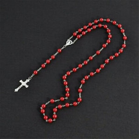 a0d314212 Piros Hosszú rózsafüzér Imitálja a Pearl Ball nyakláncot imádkozott  gyöngyök lánc ezüst kereszt medál