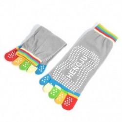 Szürke 2 1Pair női pamut 5-toe színes jóga edzőterem nem csúszós masszázs toe zokni Full Grip