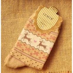 Bézs Női téli meleg gyapjú zokni karácsonyi ajándék aranyos hópehely szarvas zokni kényelmes