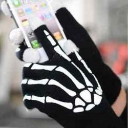 Unisex csontváz okostelefon tablet érintőképernyő kesztyű meleg téli ujjatlan ajándék