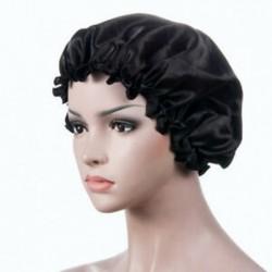 Fekete Selyem éjszaka alvó sapka hajkabát kalap fejfedő szatén széles állítható rugalmas zenekar