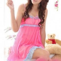 Rózsaszín Női csipke ruha szexi fehérnemű babydoll hálóruha alsónemű hálóruha G-String