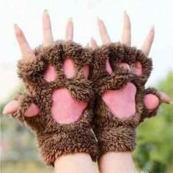 Kávé Új puha meleg téli nők mancs kesztyű ujjatlan bolyhos medve macska plüss mancs