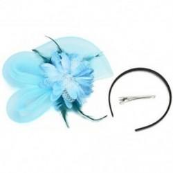 Kék Női Fascinator Feather Esküvői Party Pillbox Hat divat fejpánt Clip fátyol