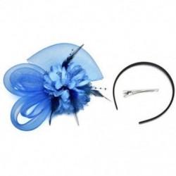 Mélykék Női divat Fascinator Toll Esküvői Party Pillbox Hat fejpánt Clip Fátyol