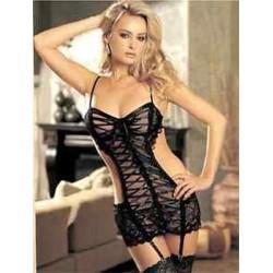 Fekete Női szexi fekete ruha fehérnemű Babydoll hálóruha Nightwear Nightgown   G-String