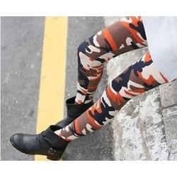 narancs Retro nők Punk Funky szexi Camo hadsereg álcázás Stretchy Skinny leggings nadrág