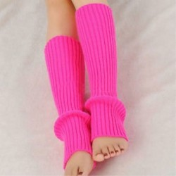 Rózsaszín Női téli meleg kötött horgolt magas térd láb melegítő leggings Boot zokni Slouch