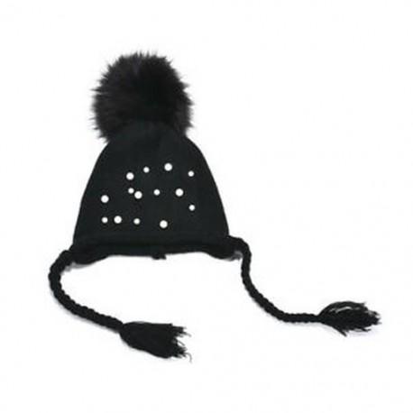 e76980f73 Fekete Kisgyermek gyerekek lányok csecsemő csecsemő téli meleg horgolt  kötött sapka Bieie Ski Cap Hat