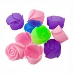 1X (10db süteményes sütőformás csokoládé zselés készítő forma szilikon rózsa Muffin G7C3