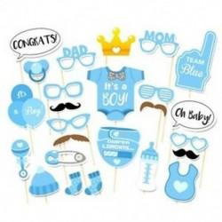 3X (25 db Photo Booth Props) Baby Shower újszülött party fotókészlet (kék) M3K7
