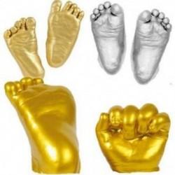 6X (3D kéz- és lábnyomó forma babapor-gipszöntvény-készlethez, kézzel nyomtatott O9E9