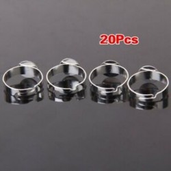 1X (20db ezüst színű üres állítható gyűrű 10 mm-es A7S5 betéttel)