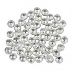 1X (4 mm-es ezüstözött Stardust Sparkle kerek gyöngyök (50) Q9G6)