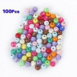 100. tétel akril műanyag gyöngyök, festett 5 mm-es Strass Glitter-rel H8O8