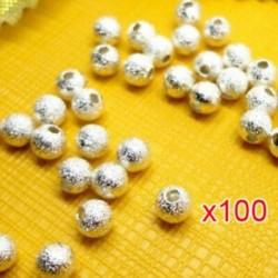 100db-os távtartó gyöngyök letapogatása Stardust ezüstözött alap, kerek, 4 mm-es, a Maki Q3B6-hoz