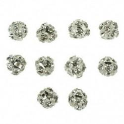 10 X távtartó labda távtartó CZ strasszos ezüst W2L2