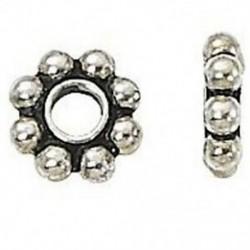 1X (50 db tibeti ezüst százszorszép fém távtartó gyöngyök 6 mm-es ékszerkészítéshez N8U6)
