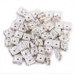 50 ezüst négyzet alakú strasszos Rondelle spacer gyöngyök, 8 mm forró H2Q3