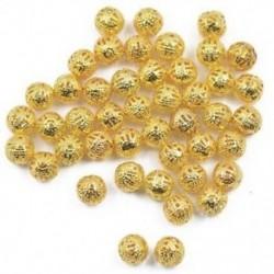 100db 8 mm-es kerek bájos fém üreges gyöngy ékszerek készítése DIY készítés aranyból Z9X5
